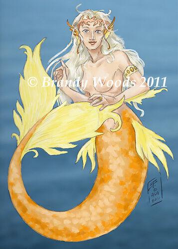 MERMAID fantasy fairy magic ACEO art print Brandy Woods