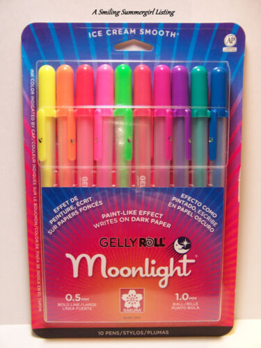 10 Moonlight Gelly Roll Pens Opaque luminous Gel Ink Fluorescents Glow Blk Light