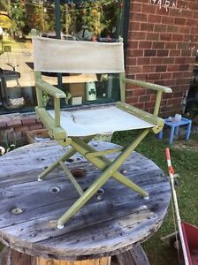 Astonishing Details About Vtg Midcentury 60S Outdoor Wood Canvas Folding Directors Chair Original Green Squirreltailoven Fun Painted Chair Ideas Images Squirreltailovenorg