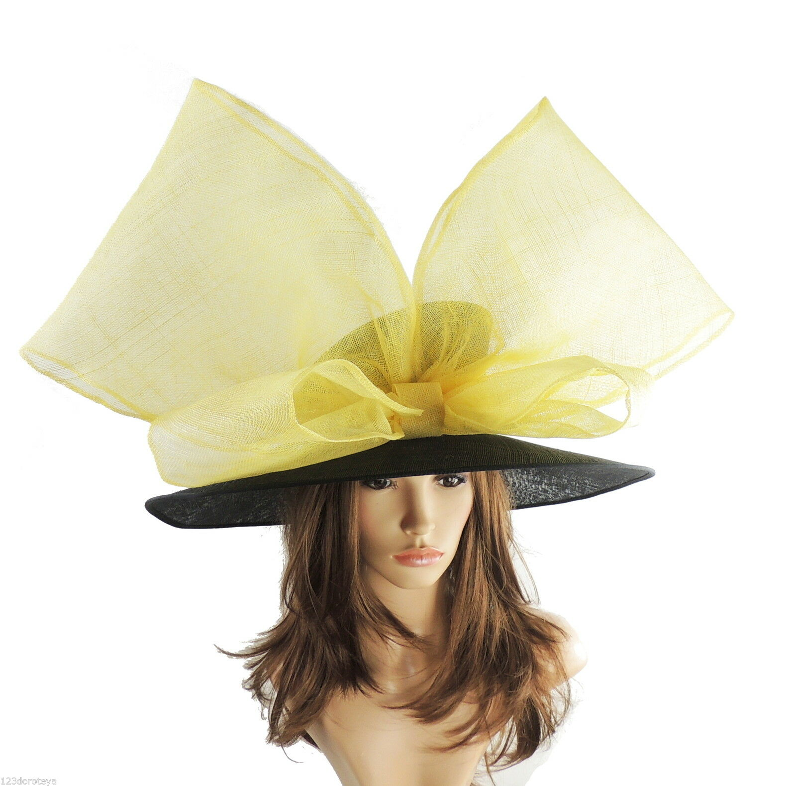 Black & Yellow Large Ascot Hat for Weddings, Ascot, Derby in many colors HC4