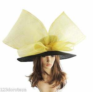 Black-amp-Yellow-Large-Ascot-Hat-for-Weddings-Ascot-Derby-in-many-colors-HC4