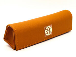Authentic-Tory-Burch-Premium-Quality-Eyeglasses-Case-Orange-Leather-amp-Gold-Logo