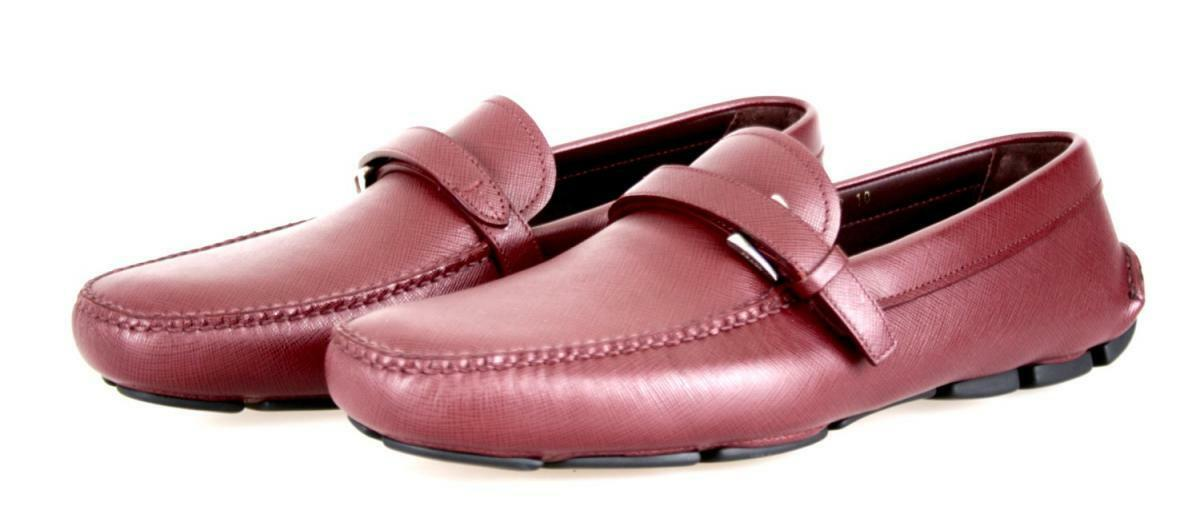 LUSSO PRADA Pantofole Con Mocassino Scarpe 2dd110 ROSSO NUOVE 9 43 43,5