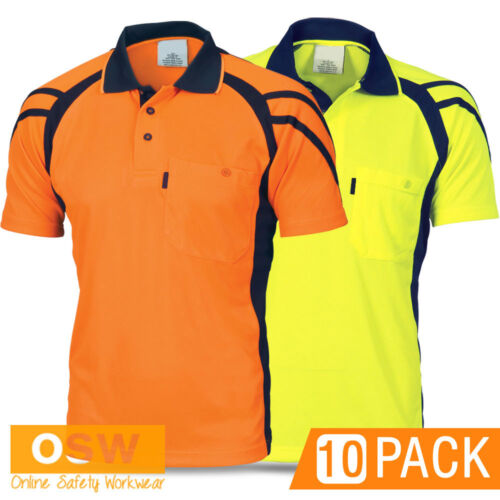 10 X HI VIS WORK COOL DRY MICROMESH ORANGEYELLOWLIME BUILDER POLO SHIRTS