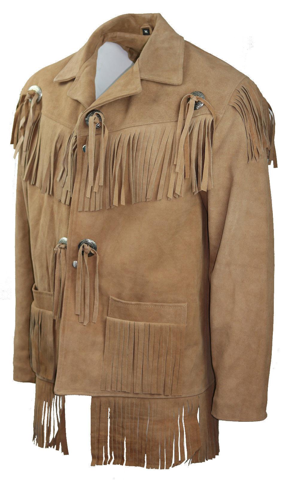 Hombres Beige Cuero de Gamuza Chaqueta Americano Flecos Occidental Vestir Abrigo