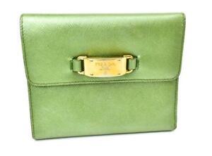 88c730e18b9316 Image is loading Authentic-PRADA-Emerald-Saffiano-Leather-amp-Gold-Logo-