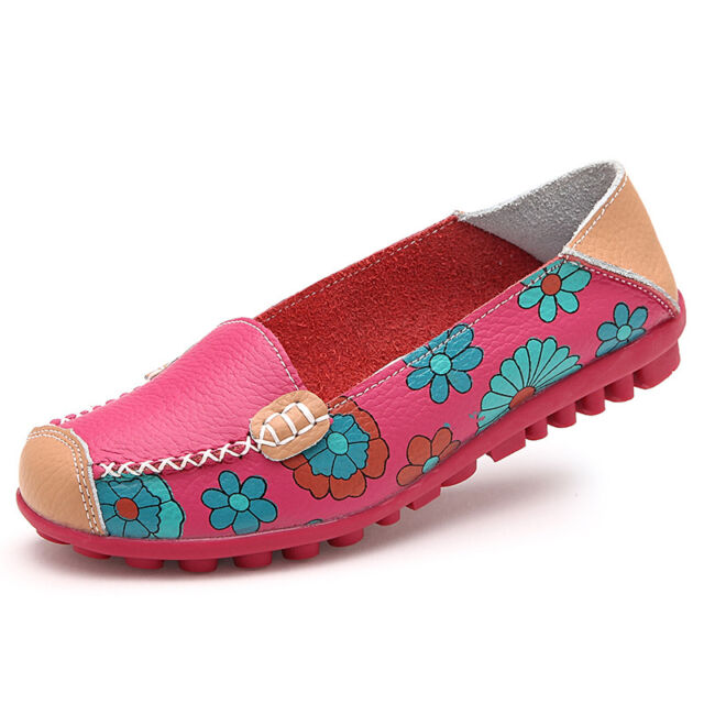 Fad Women's Floral Fuax Leather Cozy Flats Shoes Slip On Sneakers Ballet Loafers