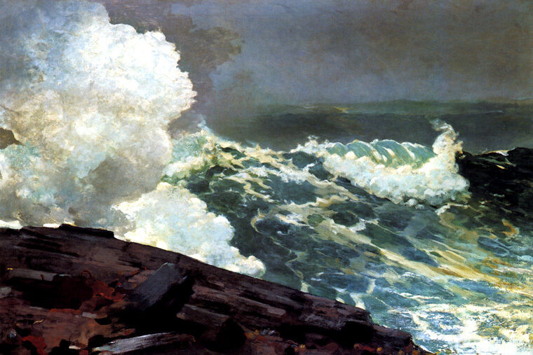 NORTHEASTER STORM WIND WHIPPED WAVES TURBULENT OCEAN PAINTING BY HOMER REPRO