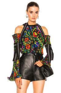 3-1-Phillip-Lim-Black-Multi-Floral-Cold-Shoulder-Pleated-Sleeve-Top-Blouse-Sz-4