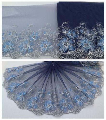 "7.5/""*1Y tul bordado de encaje de corte ~ Azul Marino Blanco ~ ~ Magic Dahlia Luz Azul"