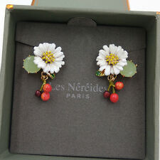 Les Néréides WHITE DAISY AND CHERRIES AND STONE STUD EARRINGS