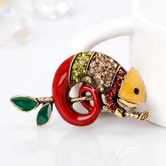 b67b77f72 Charm Women Rhinestone Chameleon Brooch Collar Pin Fashion Jewelry  Accessories