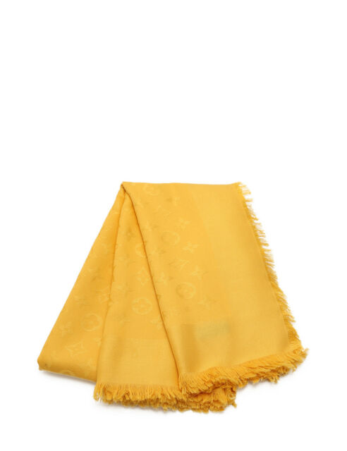 LOUIS VUITTON shawl Monogram Stole silk wool yellow