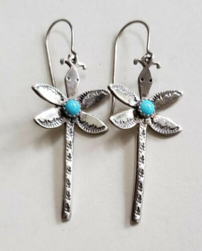 Southwestern Sterling Silver Stamped Dragonfly Ear