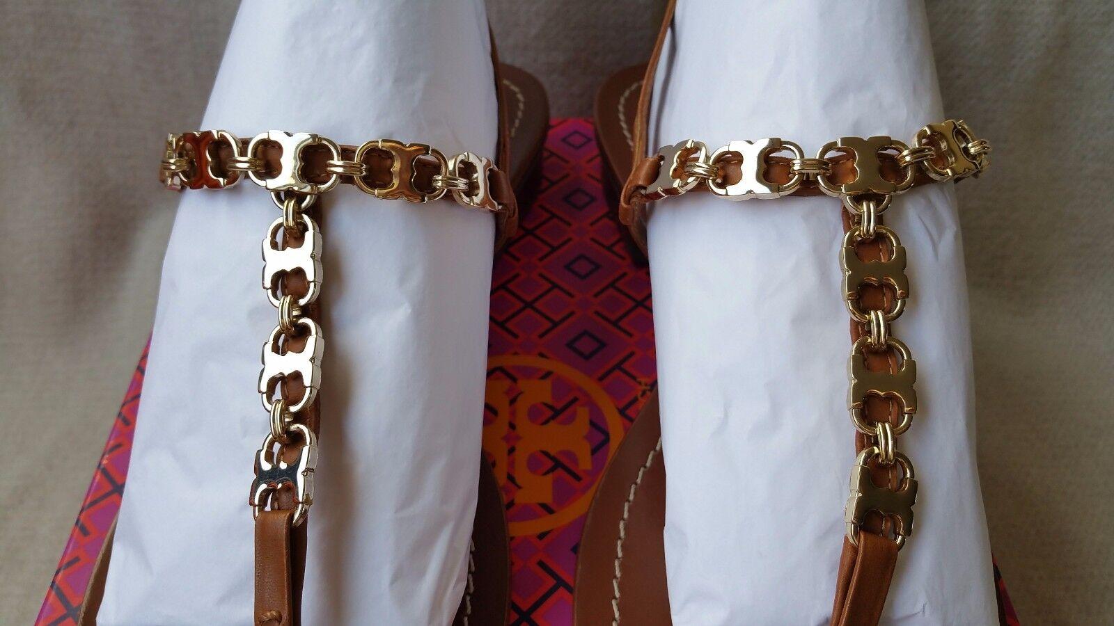 NIB Auth Tory Burch Gemini 9.5 T Strap  Link Chain Logo Sandal  Strap Leder flat schuhe 73f679