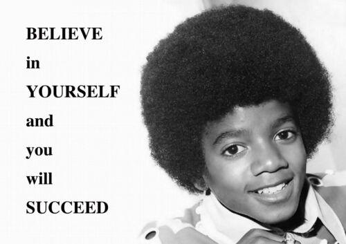Believe Micheal Jackson Junger Motivation Poster Schwarz und Weiß Bild Succeed