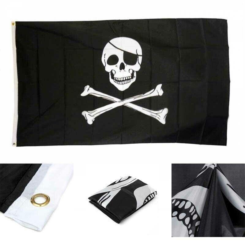Crossbones Jolly Roger Pirate Flag Polyester Skull Decor Grommets Banner 3x5ft