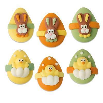 6 Osterhasen Ostern Easter Tortendeko Kuchen Cake Zucker Figuren Süß Flach
