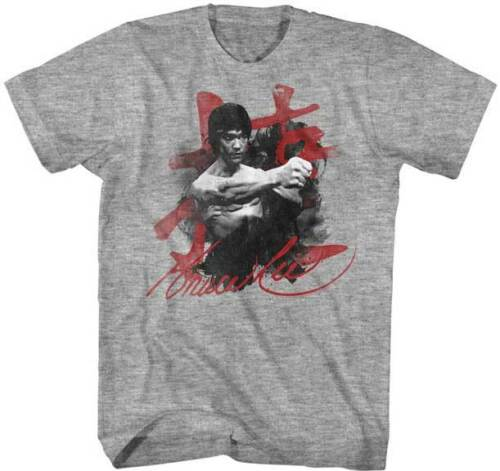 Bruce Lee Chinese Letters Words Adult T Shirt Martial Arts