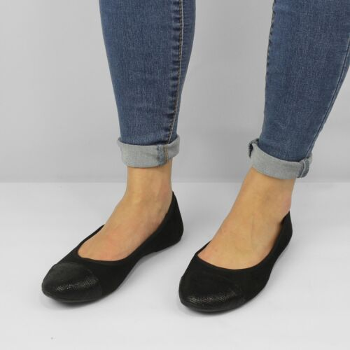 Shumo VELVET Ladies Womens Soft Slip On Comfort Ballerina Pumps Shoes Black