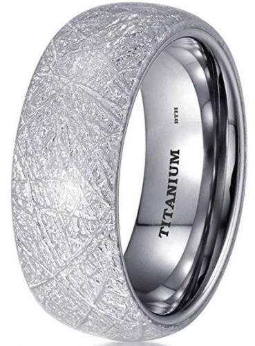 Titanium Mens//Unisex 8mm Domed Meteorite Inlay Titanium Wedding Band Ring