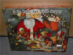 """2 PC Cake Set With Server 10.5"""" Plate in Christmas Box Gift Ceramic #122-9000"""