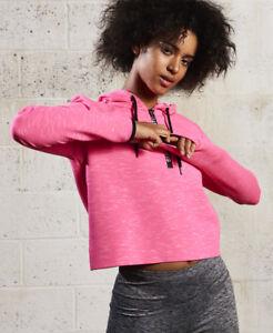 New-Womens-Superdry-Sd-Sport-Gym-Tech-Luxe-Crop-Hoodie-Pop-Pink-Marl