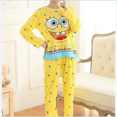 Hot Fashion Women Cartoon SpongeBob Sleepwear Pajamas set Long sleeve Nightwear
