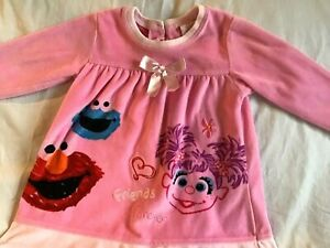 SESAME-STREET-Girl-039-s-Dress-Pink-Velour-ABBY-CADABBY-ELMO-COOKIE-MONSTER-2T-NWT