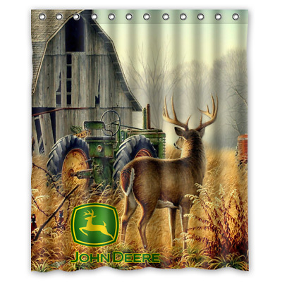 Farm Tractor John Deere Logo Custom Waterproof Fabric Shower Curtain Bathroom