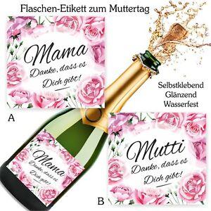 Aufkleber sektflasche geburtstag geschenk fest muttertag danke mutti mama rosa ebay - Geschenk 50 geburtstag mama ...