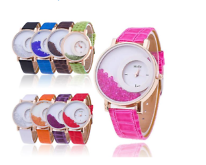 Image is loading Gorgeous-Womens-Quicksand-Crystal-Fashion-Watches -Quartz-Faux- ca2891597