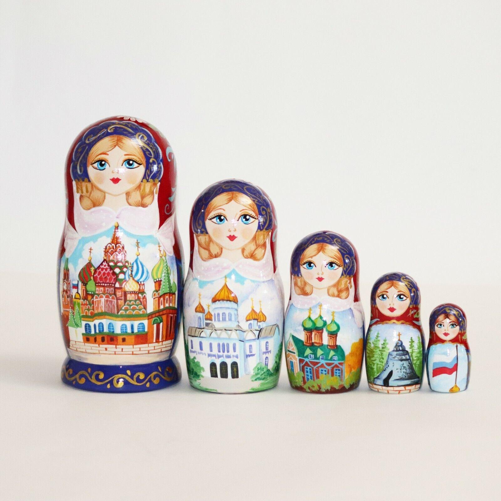 Nesting Dolls St. Basil's Cathedral en Moscú Kremlin Pintado A Mano Firmado