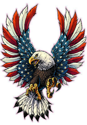 "American Flag Eagle Wings Decal 10/"" × 10/"" Free Shipping"