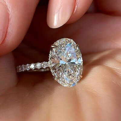 Gorgeous Women 925 Silver Rings Oval Cut White Sapphire Wedding Ring Size 6 10 Ebay