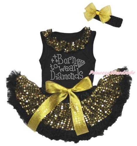 Rhinestone Born To Wear Diamond Black Top Gold Sequins Newborn Baby Skirt 3-12M