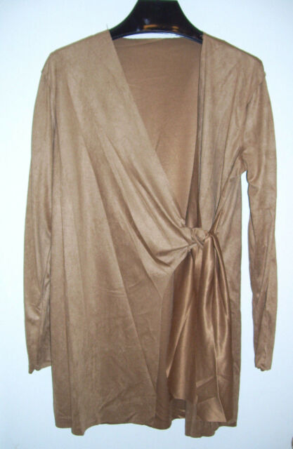 New Famous Brand Faux Suede Wrap Swing Sweater Jacket M