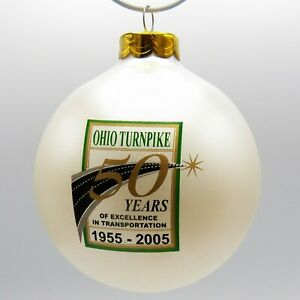 Ohio-Turnpike-50th-Anniversary-Christmas-Ornament-Glass-Ball-1955-2005-Vintage