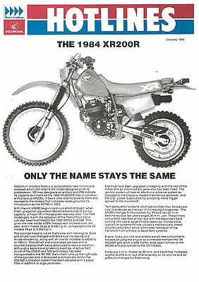 1985 HONDA XR200R XR250R DEALER SALES BROCHURE ORIGINAL XR250 XR 200 250