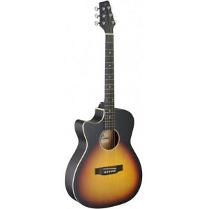 stagg sa35 left hand cutaway acoustic electric guitar sunburst built in tuner 882030244339 ebay. Black Bedroom Furniture Sets. Home Design Ideas