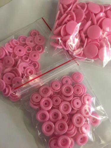 50 setst 5 1.2cm Rosa broches de resina plástica botón Sujetadores Press Stud Poppers