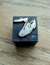 Antique Vintage Mens Shoes Slip Ons Printers Block Letterpress Stamp Plate