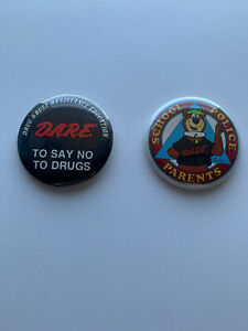 Vintage 90s DARE Pin 2x Badge Logo and Yogi Bear Retro Drug Abuse Resistance Edu