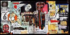 Graffiti painted wall Michel Basquiat Neo-Expressionism Silk Poster 24x43inch