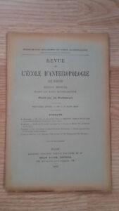 Recueil Mensual - Revista ESCUELA Antropología De París - 1899 - N º 6