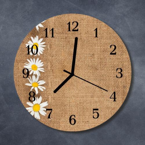 Tulup Glass Wall Clock Kitchen Clocks 30 cm round Daisy Brown