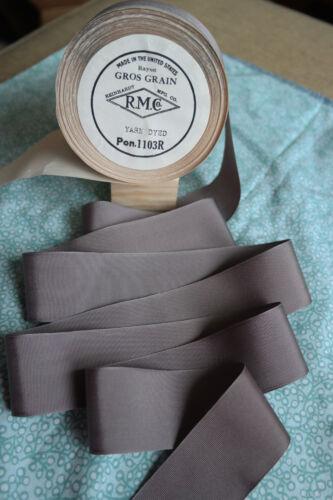 """10 yard 1 1//2/"""" wide vintage roll grosgrain grey ribbon millinery hat dress 137"""