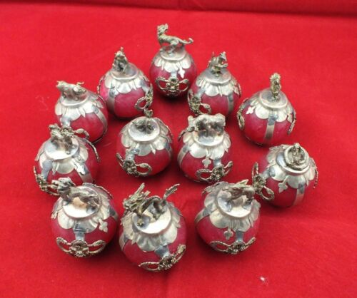 Old Decorated Handwork Inlay tibet-silver Dragon 12 Zodiac Red Jade Ball Statue