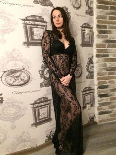 Frauen Damen Tiefe V-Ansatz Spitze Sommer Strand langes Maxi Kleid Fotos Stützen