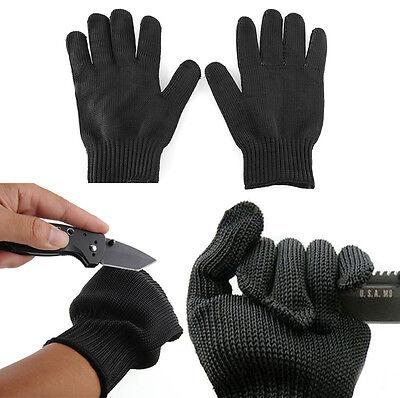 Black Stainless Steel Wire Safety Works Anti-Slash Cut Resistance Gloves